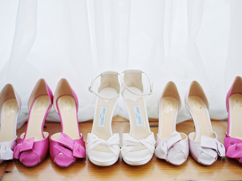 Pink Bridesmaid and Jimmy Choo Bridal Shoes