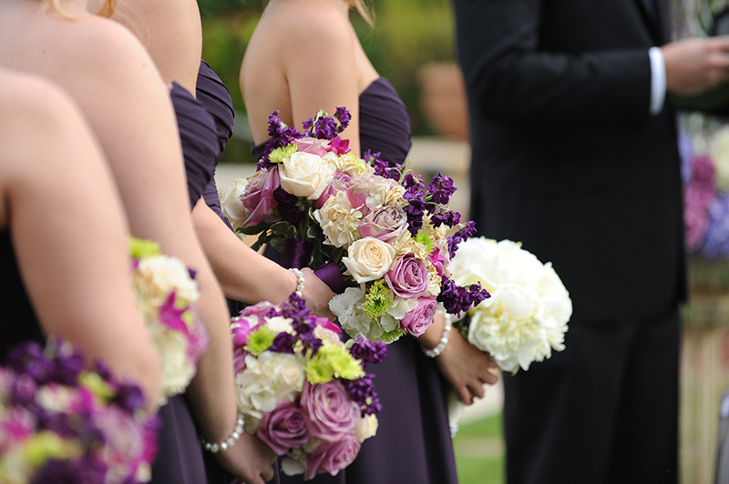Purple and White Bridesmaid's Bouqets