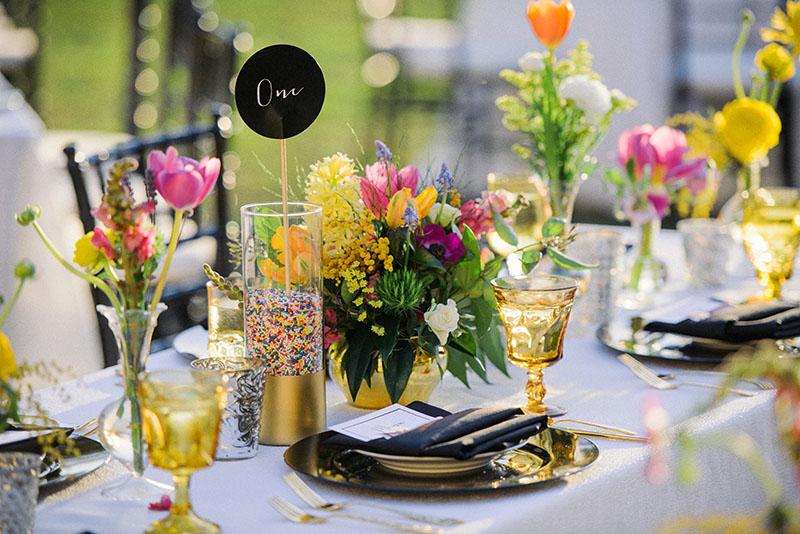 Rainbow Sprinkles in Gold Dipped Vase Table Number Display