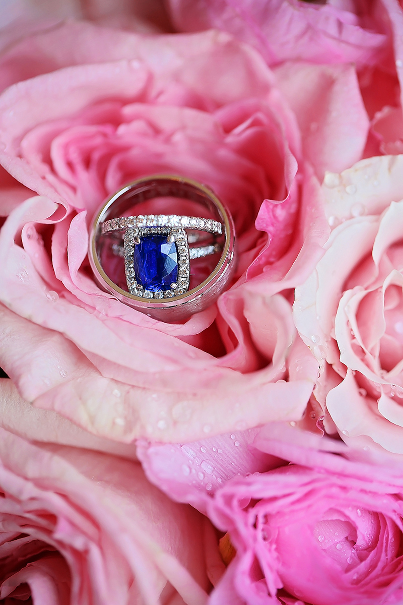 Sapphire Engagement Ring and White Gold Wedding Bands