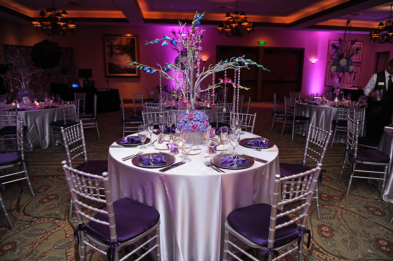 Silver and Purple Reception Decor