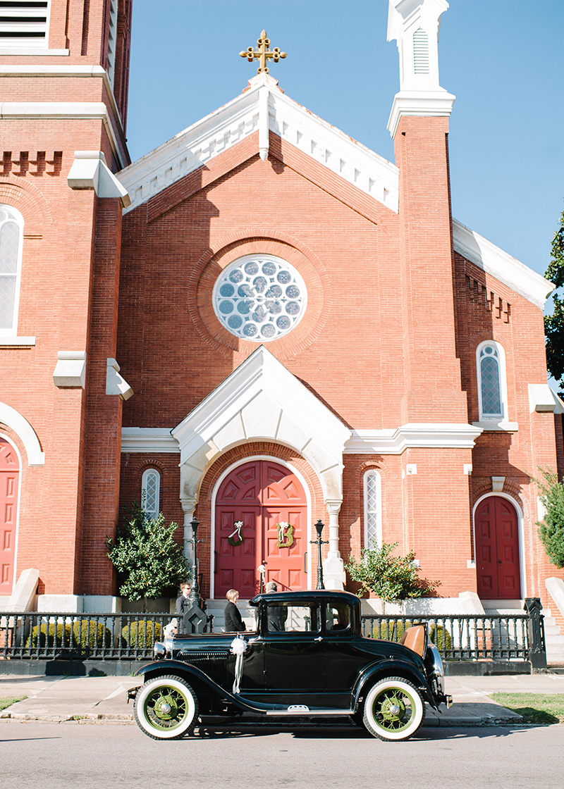Traditional Christian Church Ceremony in Augusta with Vintage Car