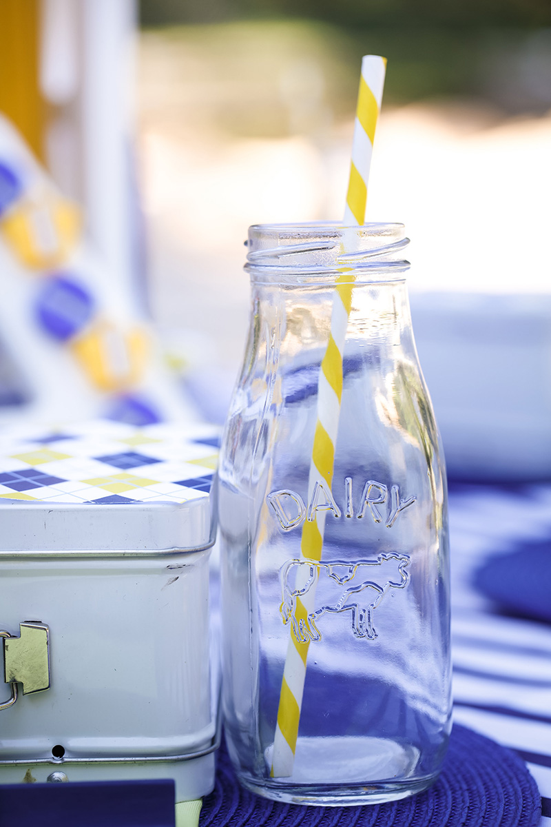 Vintage Milk Bottles with Festive Yellow Striped Paper Straws