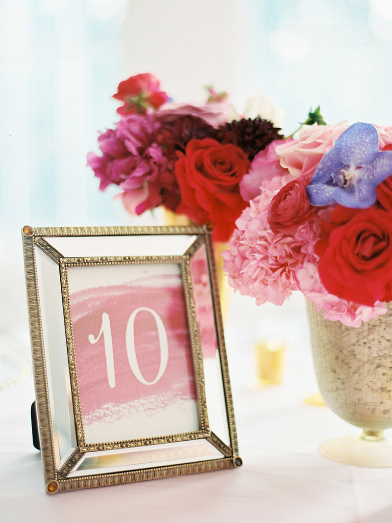 Watercolor Table Numbers in Vintage Gold and Glass Frames