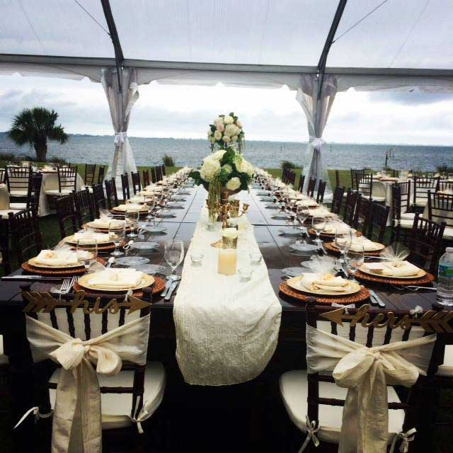 Waterfront wedding reception The Powel Crosley Estate in Sarasota Florida - barn wedding venues in central florida
