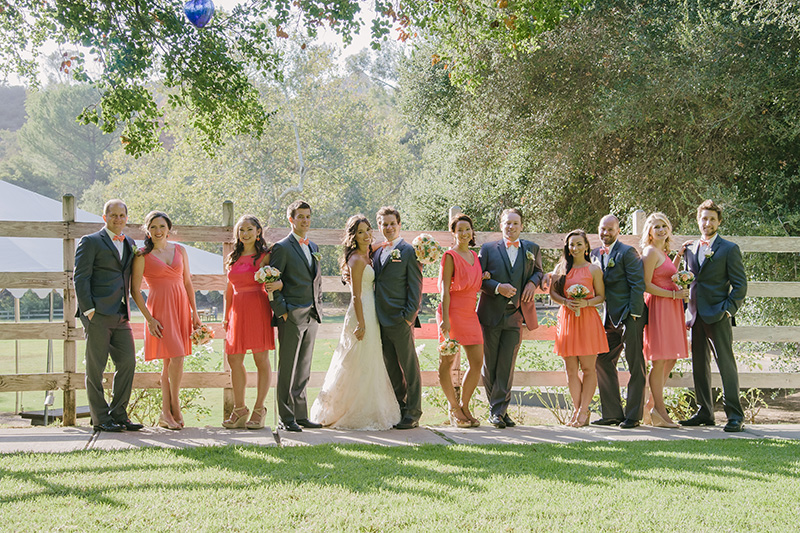 Wedding Party in Peach and Gray on Calamigos Ranch