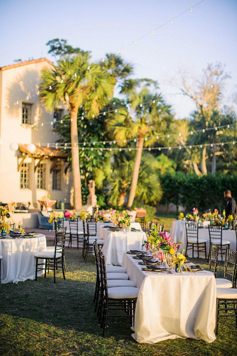 Wedding Reception at Powell Crosley Estate Under String Lights