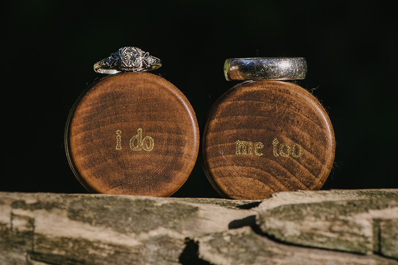 Wedding Rings with Stamped Wooden Boxes