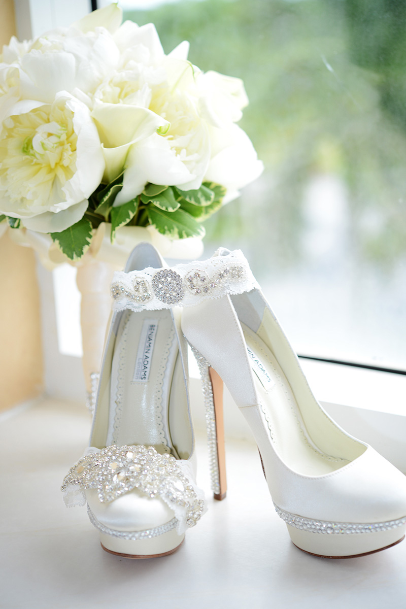 White adn Cyrstal Wedding Shoes, Garter and Headband