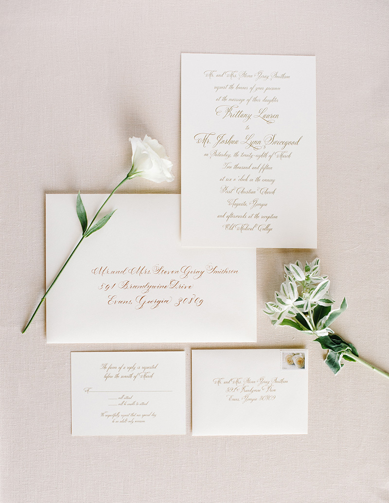 White and Gold Classic Invitation Suite