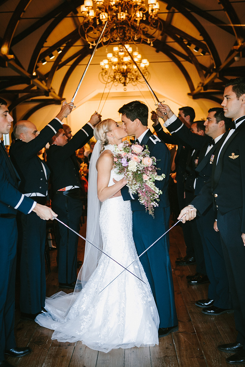 Air Force Sabre Arch at Wedding Ceremony