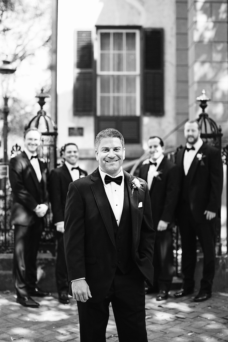 Black Bow Tie Groom Groomens Group Shot