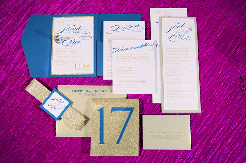 Blue and Gold Glitter Wedding Invitation Suite
