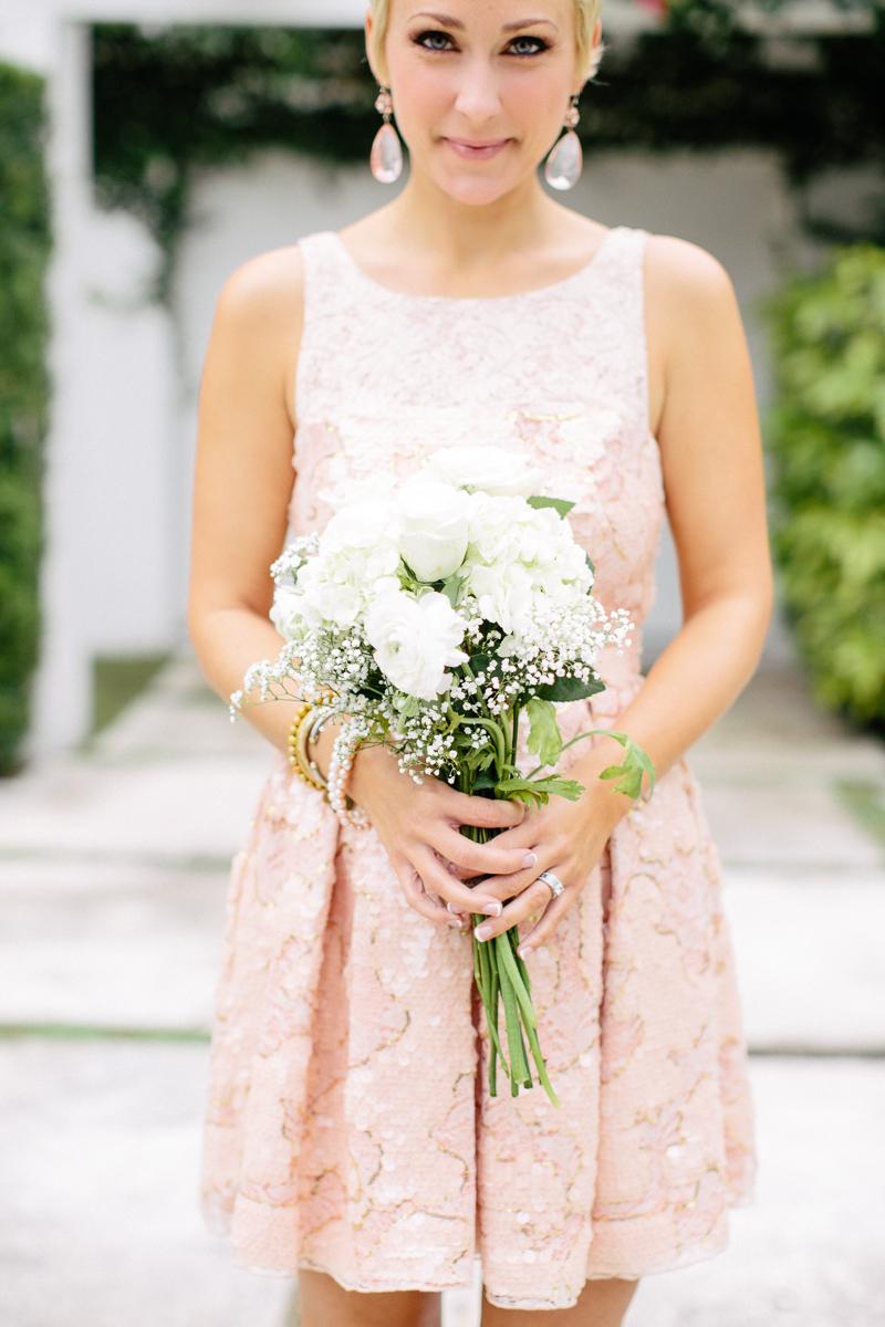 Blush Bridesmaid with White Hydrangea Bouquet