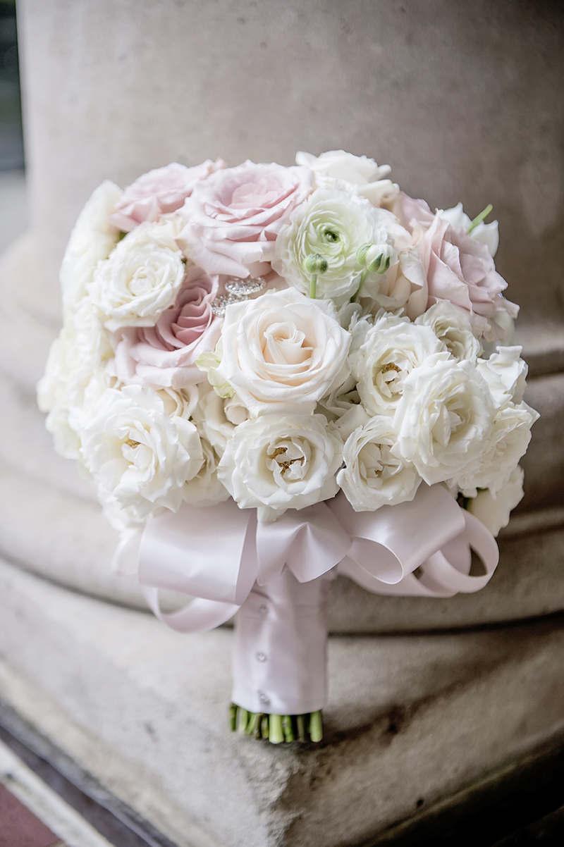 Blush and White Rose and Ranunculus Bridal Bouquet