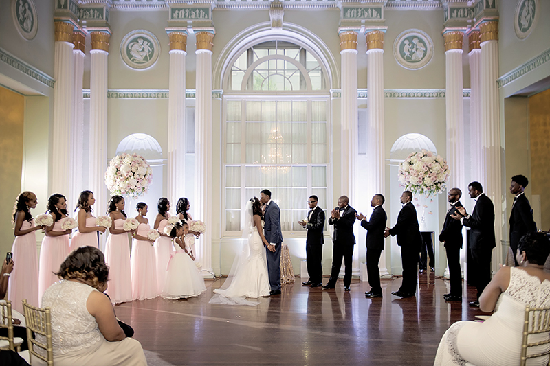 Blush and White Wedding Ceremony at Biltmore Ballrooms