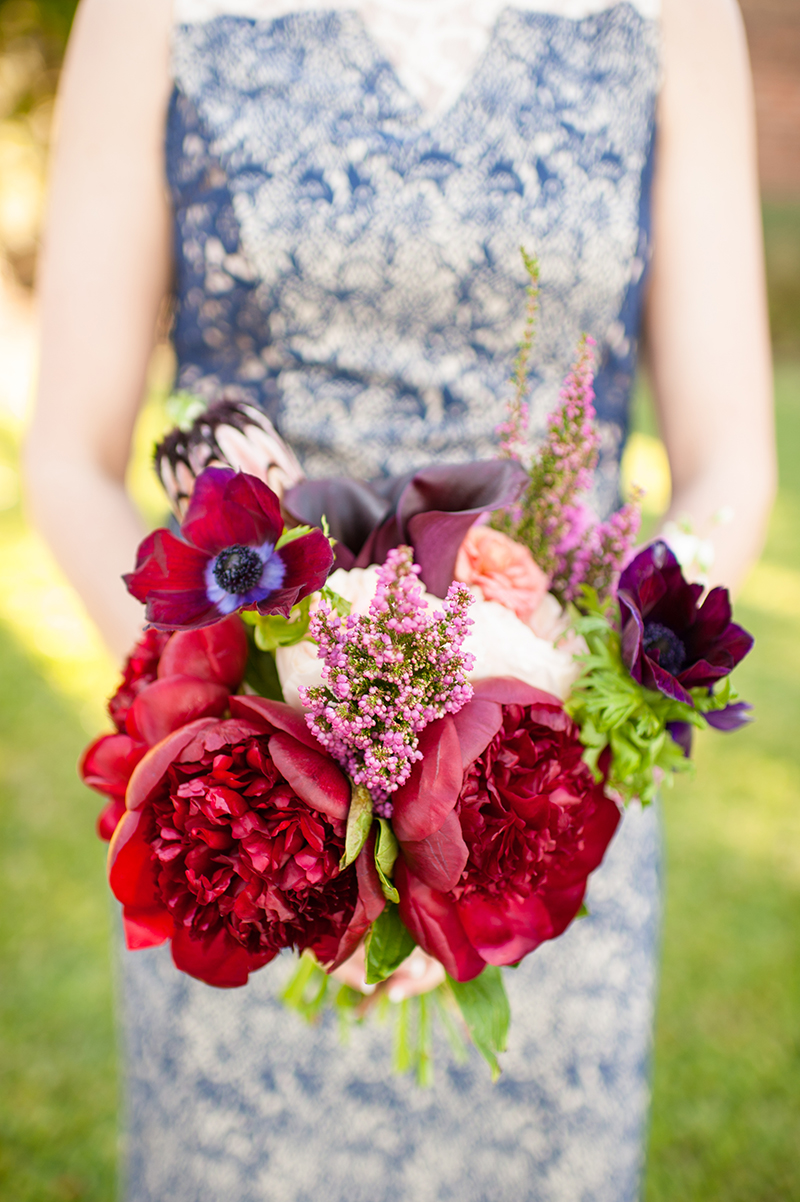 Bold Winter Bouquet of Red Peonies and Cosmos