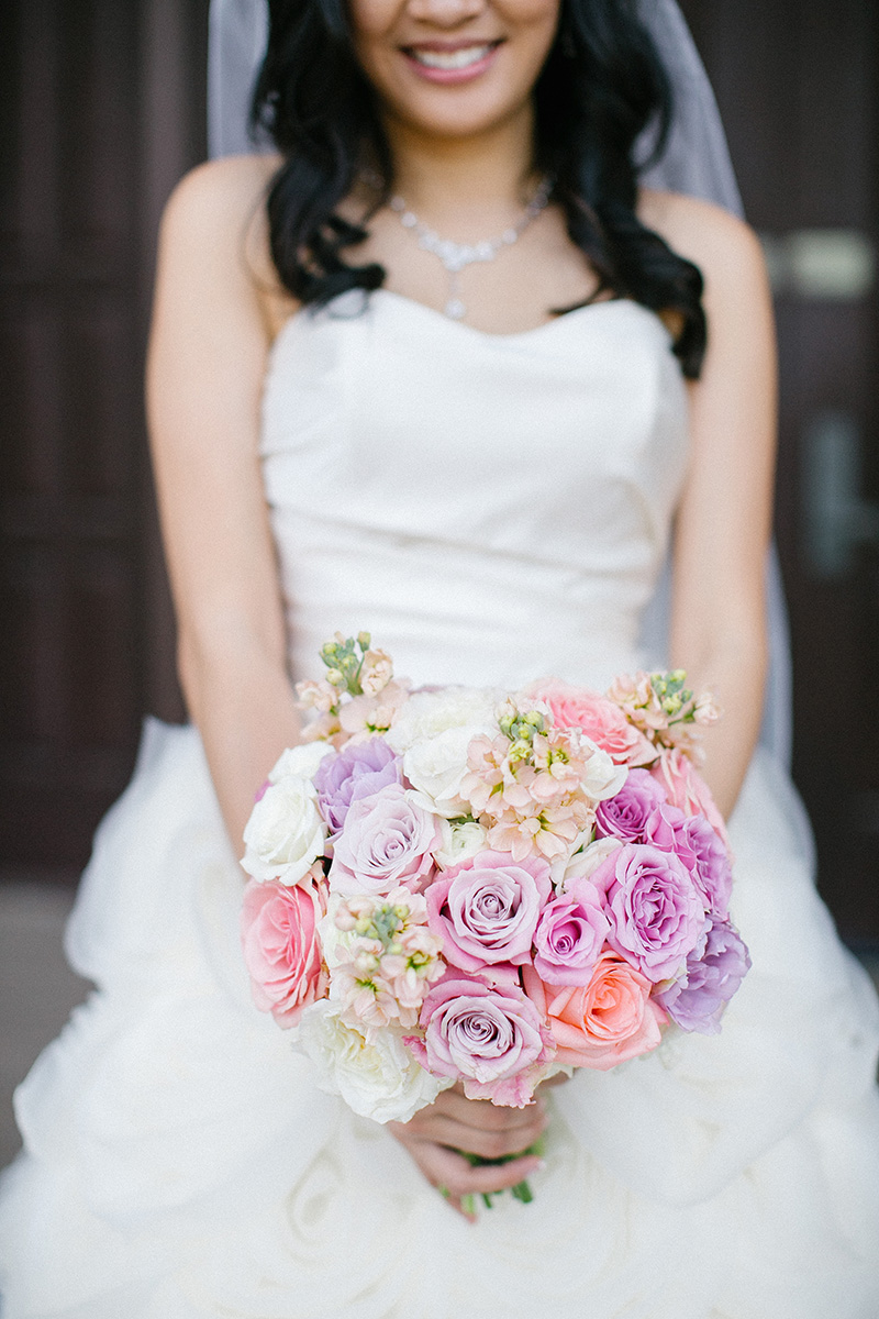 Bouquet of pale pink and purple roses