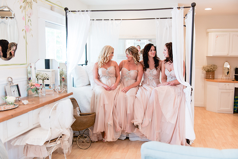 bridesmaids getting ready shot