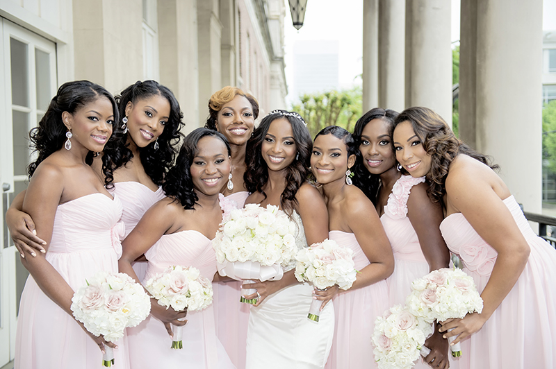 Bridesmaids in Blush Strapless Gowns