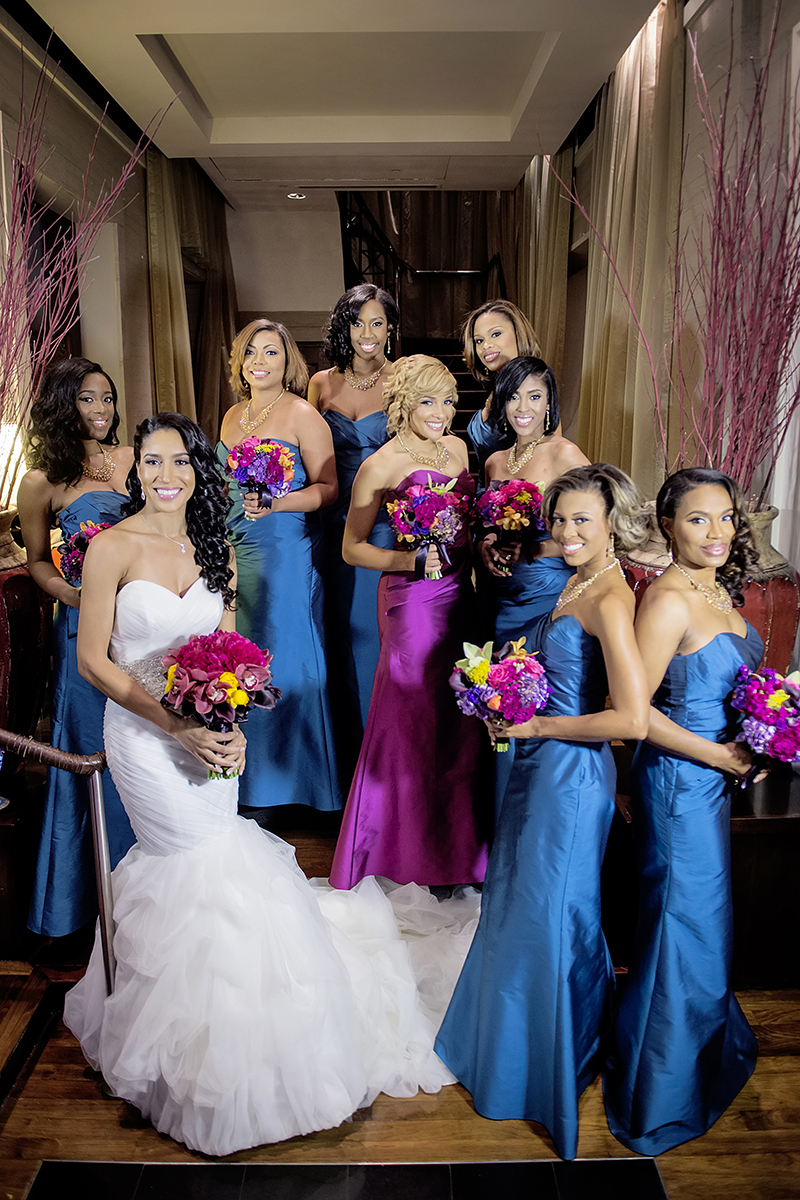 Bridesmaids in Bright Blue Gowns and Maid of Honor in Magenta