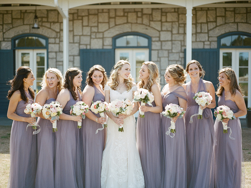 Bridesmaids in Lilac Gowns