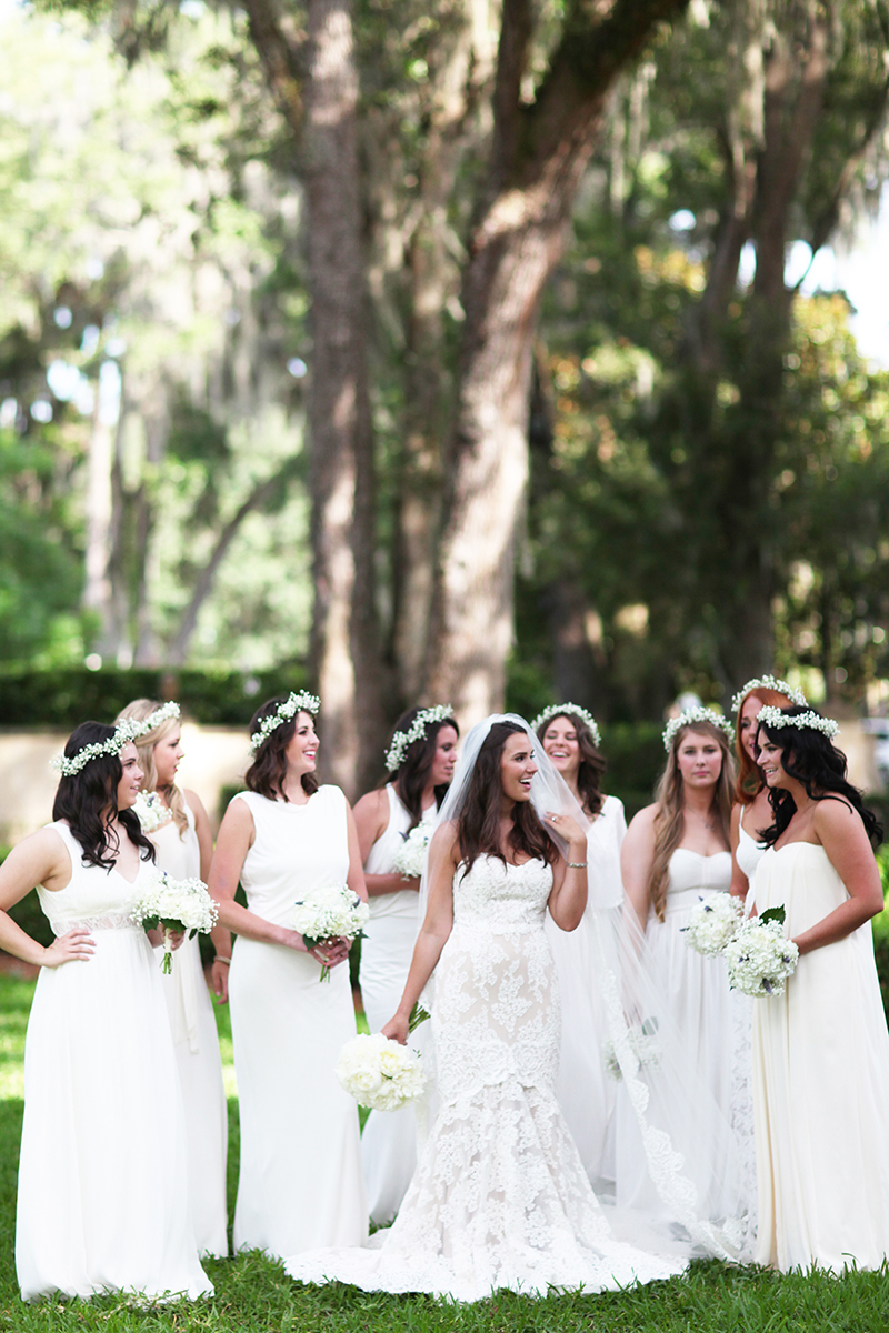 Bridesmaids in White Gowns and Baby's Breath Flower Crowns