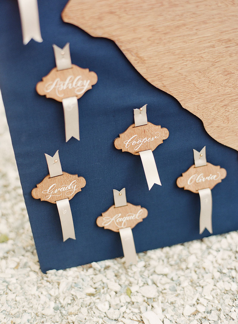 Calligraphed Wooden Escort Card Display