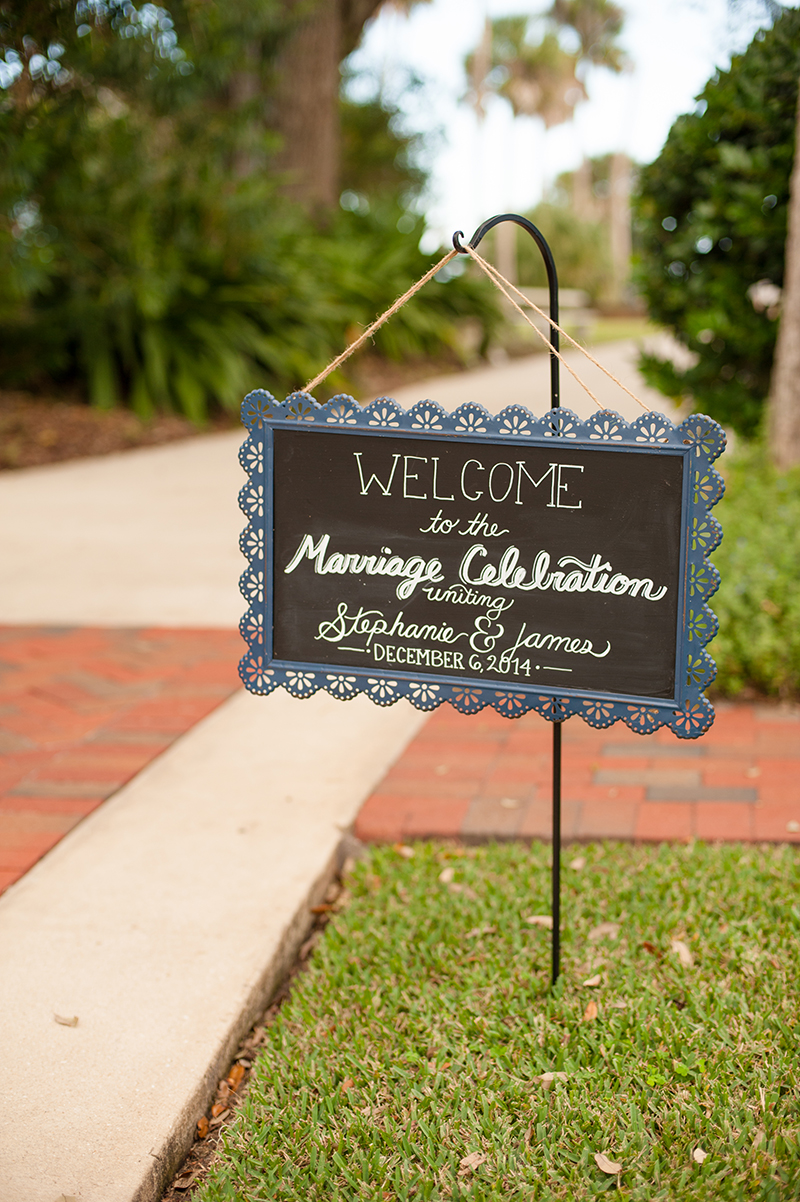 Chalkboard Welcome Sign at Wedding Ceremony Entrance