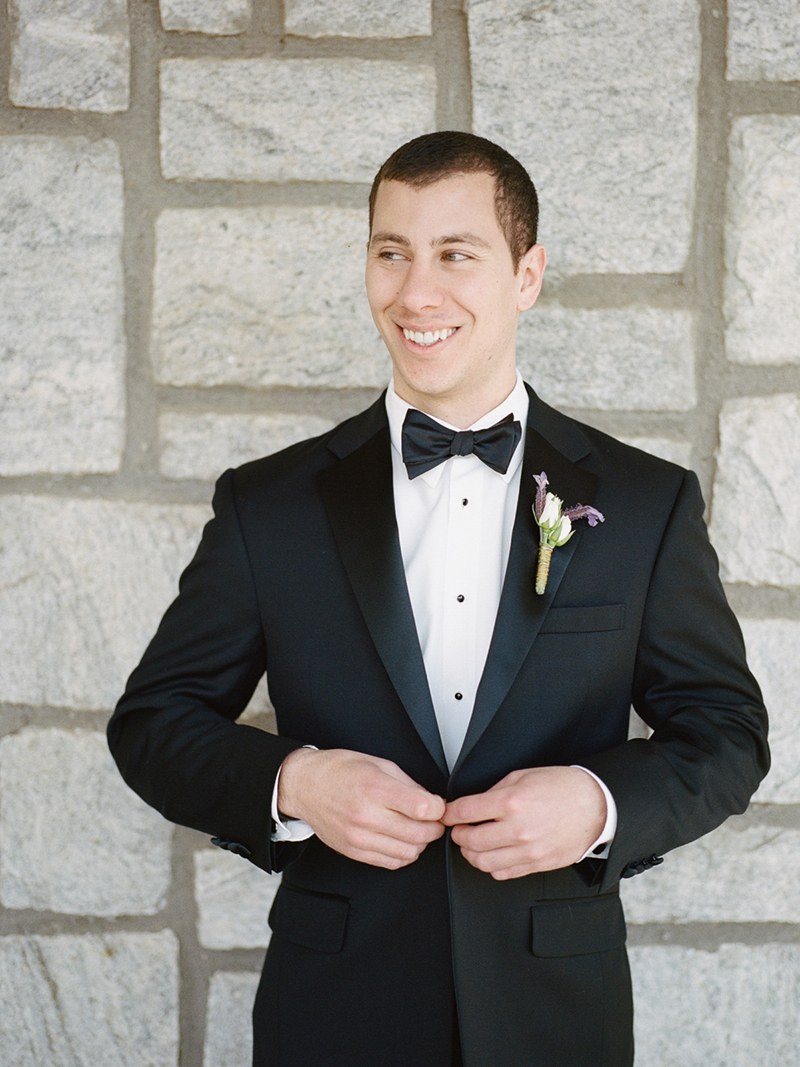 Classic Tuxedo with Lavender Boutonniere