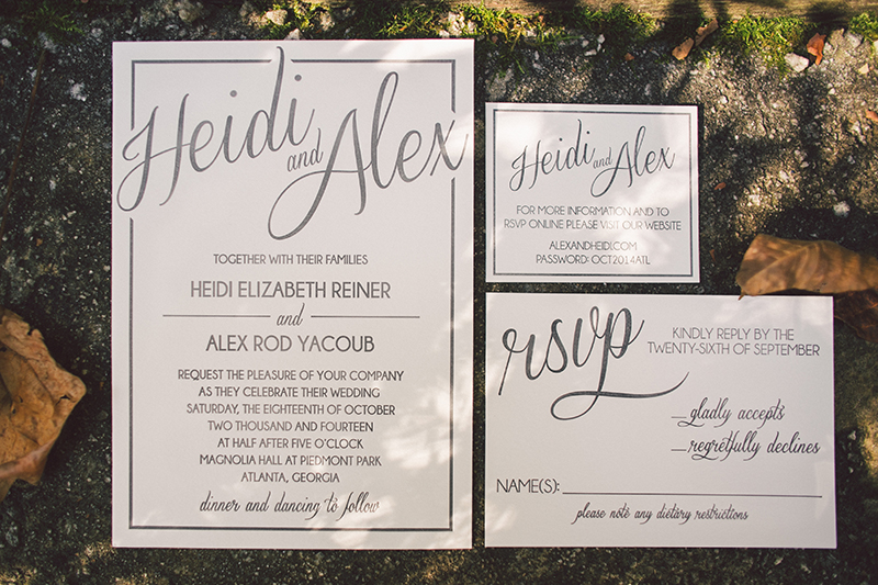 Custom Gray and White Wedding Invitation Suite