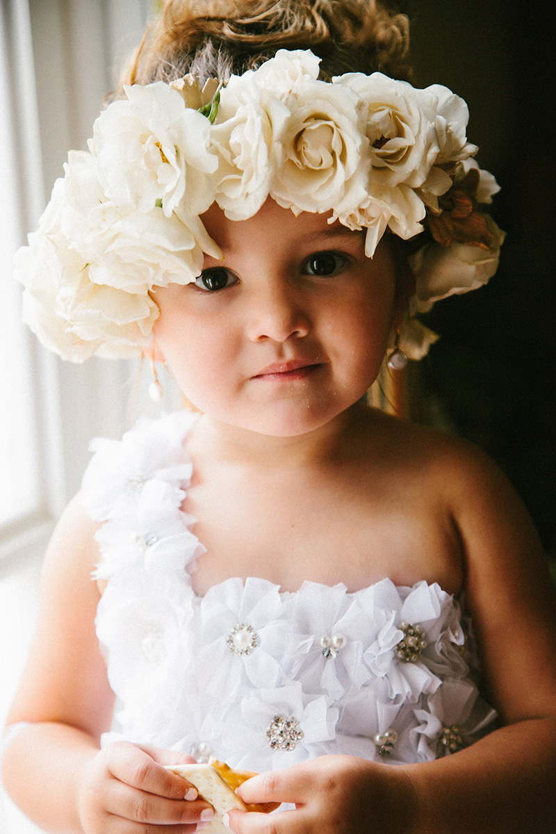 Flower Girl in Floral Crown and Rosette Dress