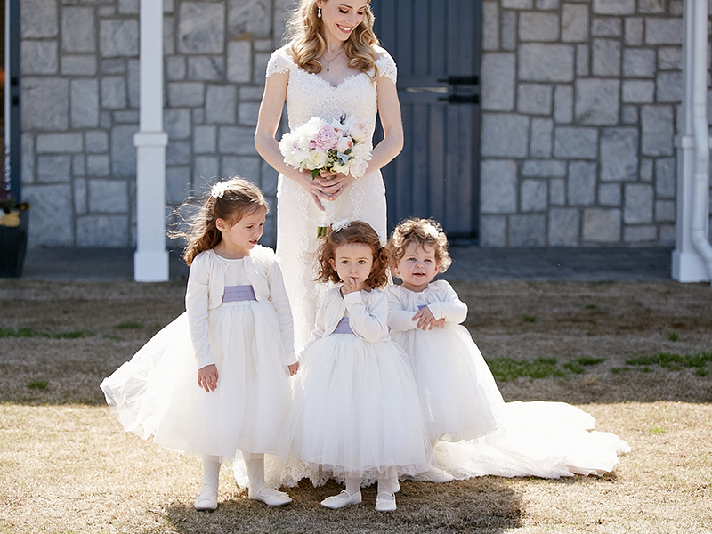 Flower Girls in White Tulle Dresses with Lavender Sashes