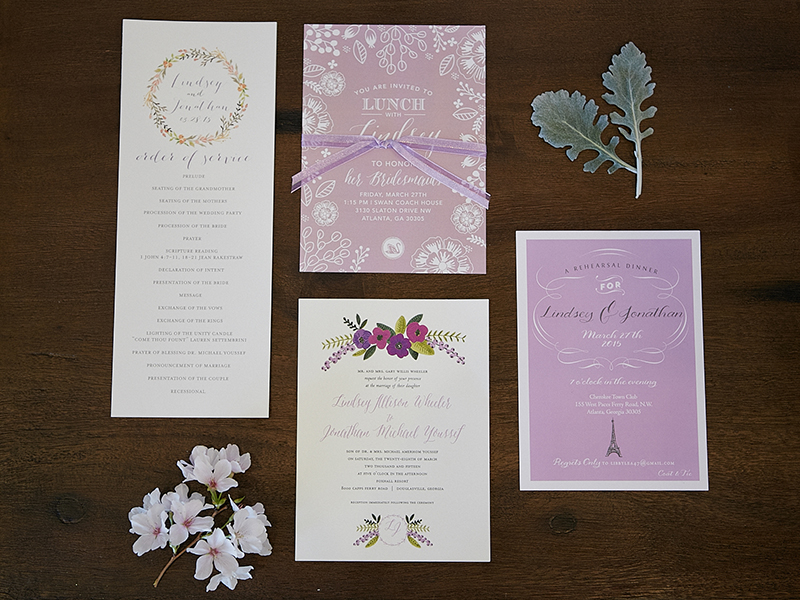 French Inspired Lavender Wedding Invitation Suite