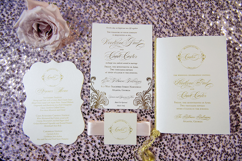 Glam Gold And Pink Wedding Invitation Suite