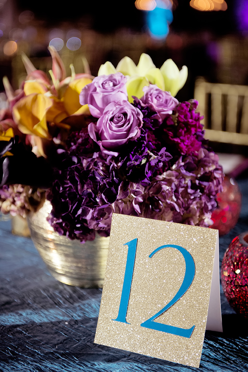 Gold Glitter Table Numbers at Wedding Reception