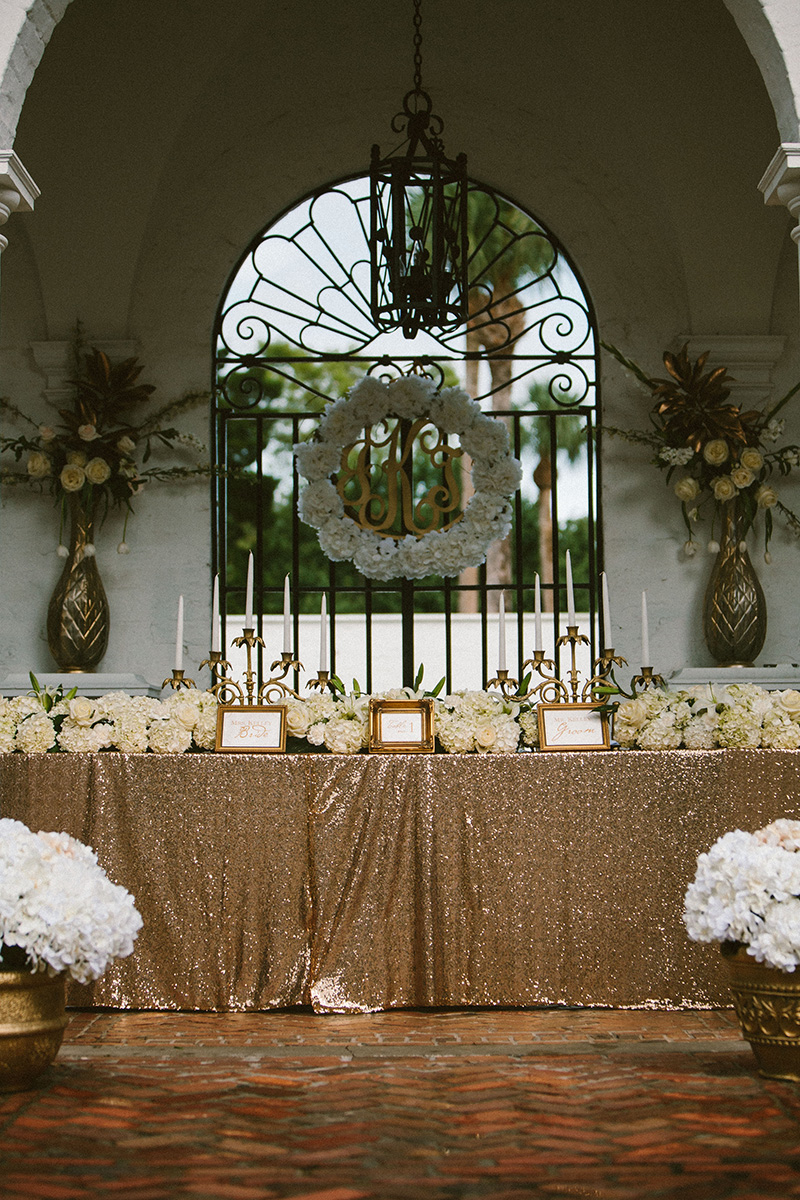 Gold Sequin Table Cloth and Hydrangea Covered Head Table