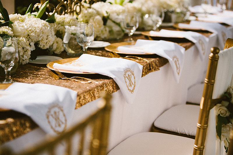 Gold Sequin Table with Hydrangea Centerpiece