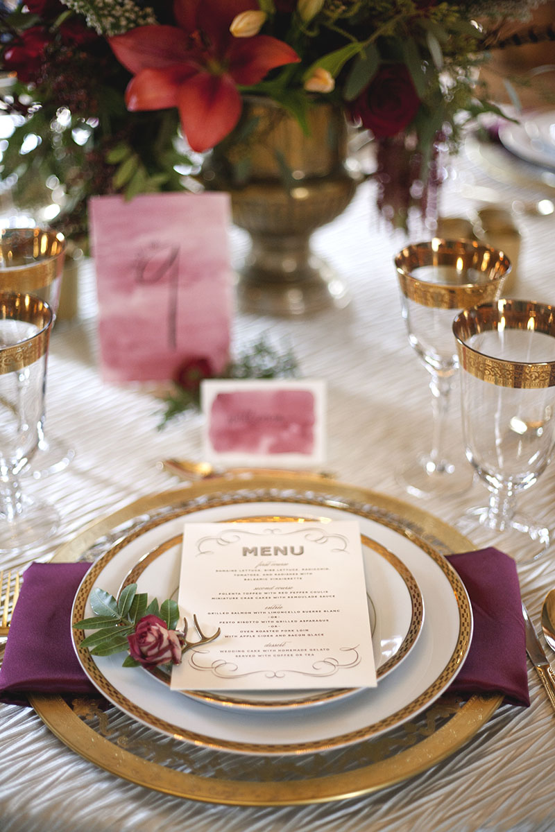 Gold and Merlot Place Setting with Watercolor Table Numbers and Escort Cards