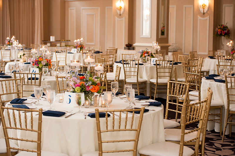 Gold chairs in banquet hall