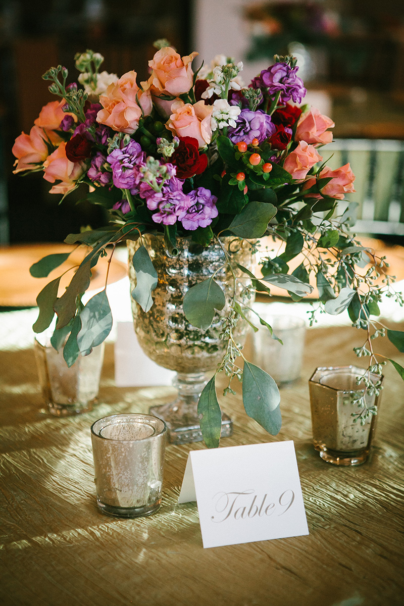 Golden Green Table Linen with Mercury Glass Votives and Fall Florals