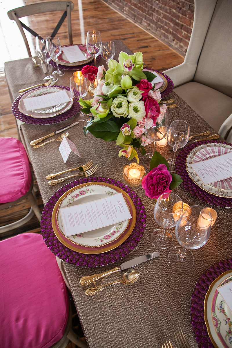 Green Fuscia Gold Wedding Reception Table Setting Display