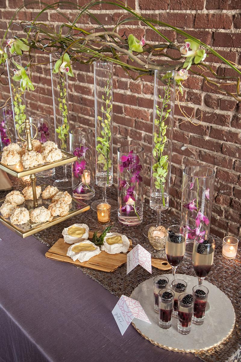 Green Fuscia Orchid Wedding Reception Dessert Display
