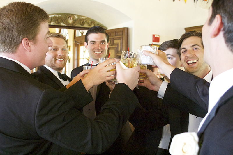 Groom and Groomsmen Whiskey Toast Before Ceremony