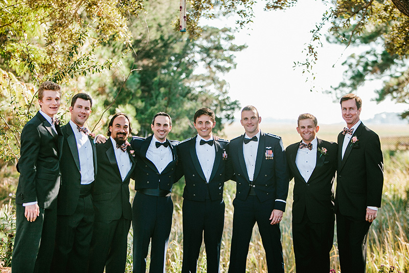 Groomsmen in Air Force Mess Dress and Patriotic Bowties
