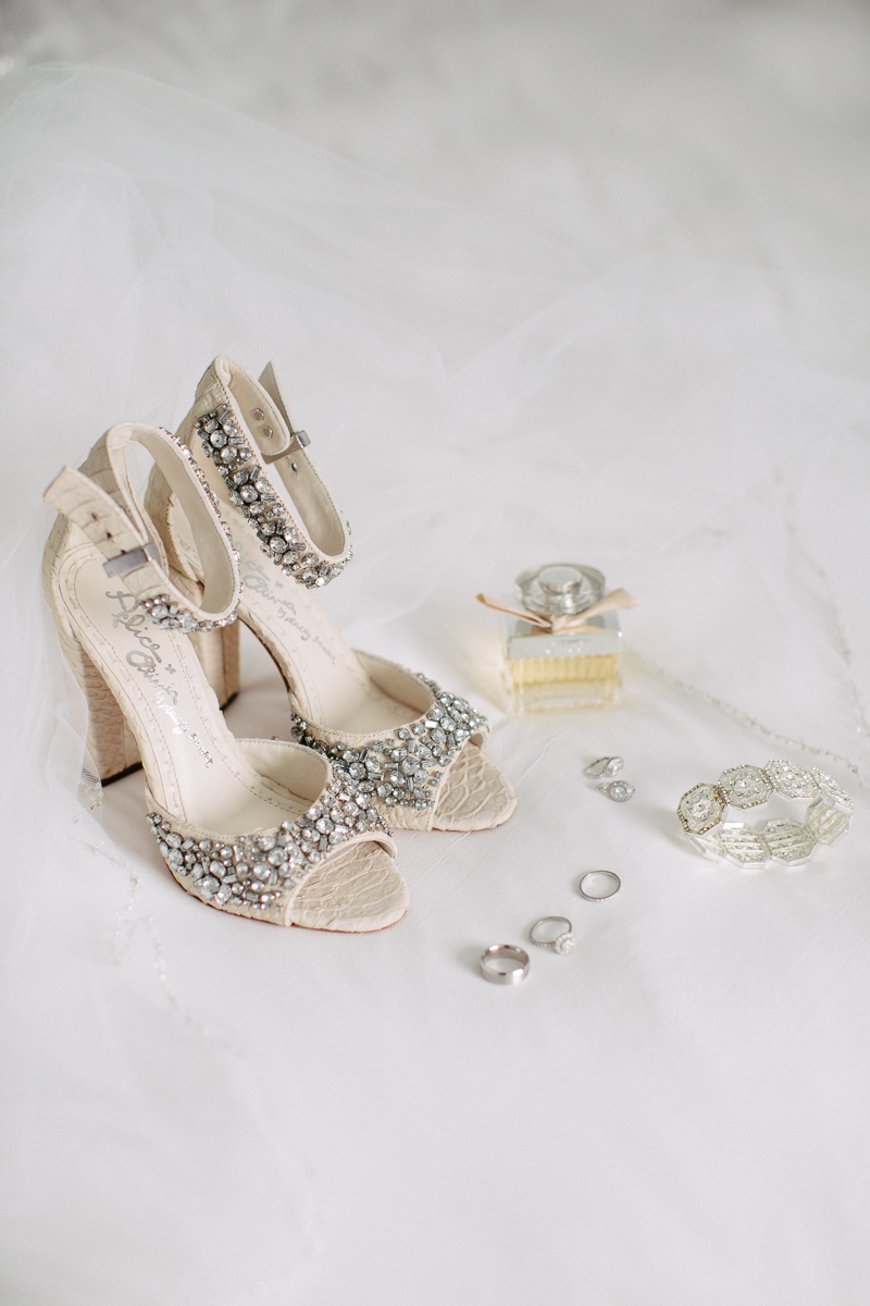 Ivory Bride Shoes and Jewelry Display