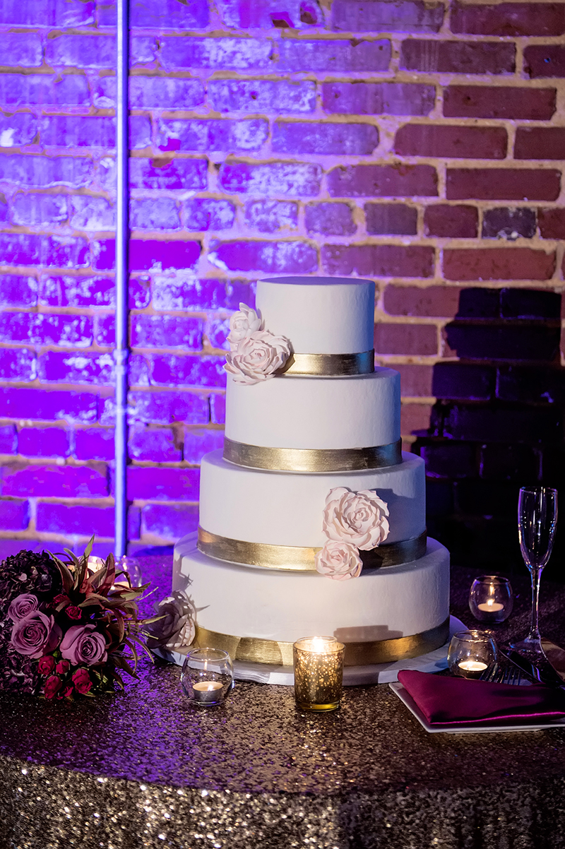 Ivory Gold and Pink Sugar Flower Wedding Cake