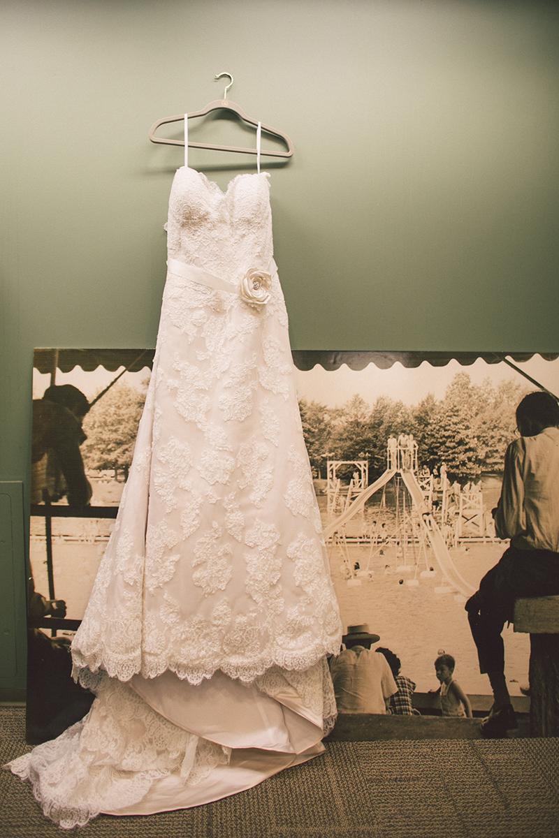 Lace Wedding Dress with Rosette Belt