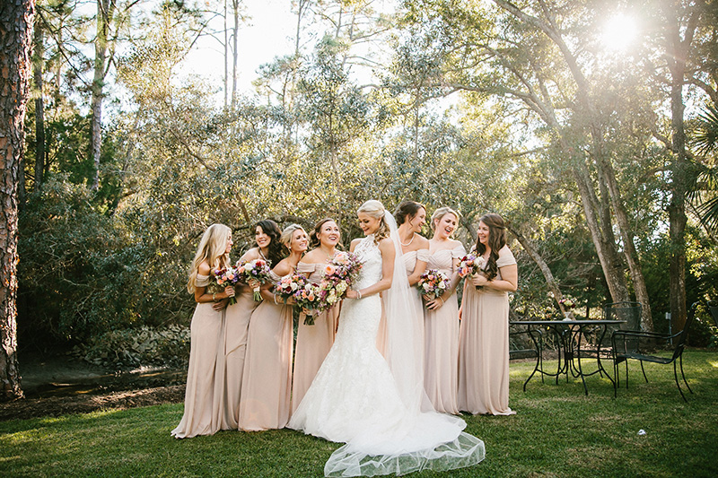 Light Pink Bridesmaids with Fall Bouquets