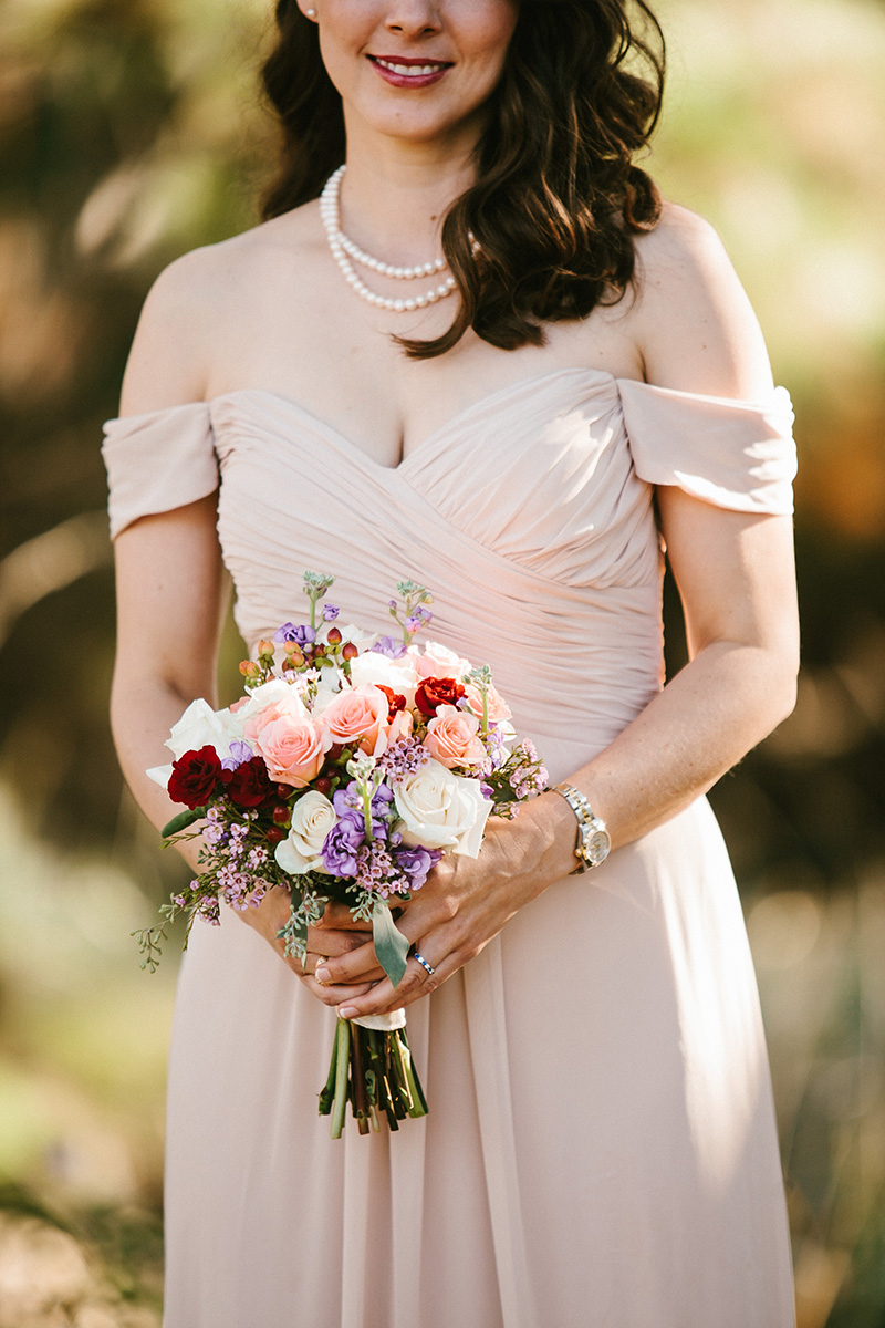 Light Pink Off the Shoulder Bridesmaid Dress